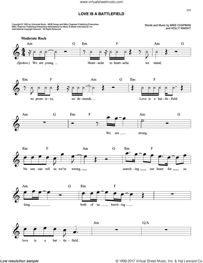 Love Is A Battlefield sheet music for voice and other instruments (fake book) by Pat Benatar, Holly Knight and Mike Chapman, intermediate skill level