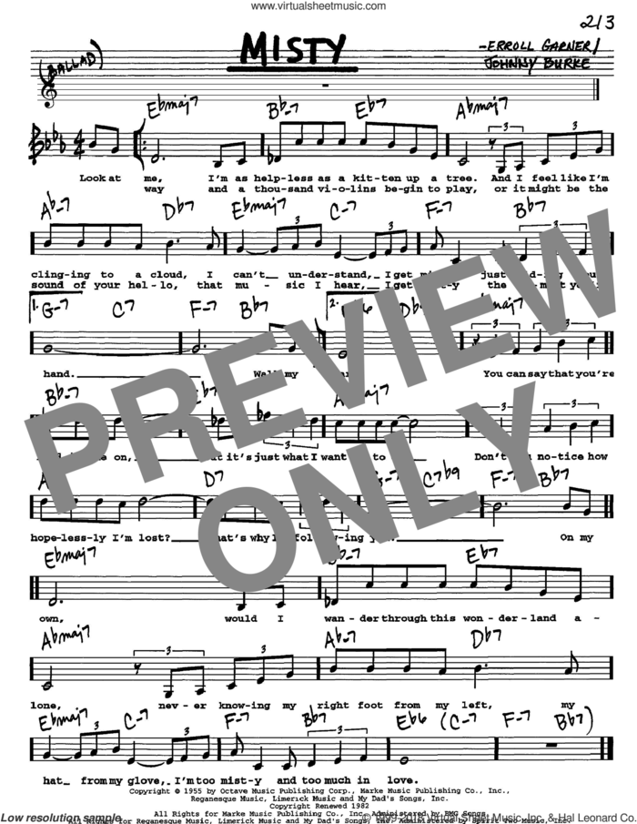 Misty sheet music for voice and other instruments  by Johnny Mathis, Erroll Garner and John Burke, intermediate skill level