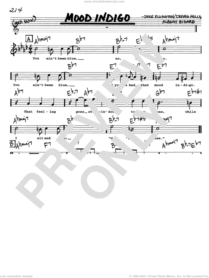 Mood Indigo sheet music for voice and other instruments  by Duke Ellington, Albany Bigard and Irving Mills, intermediate skill level