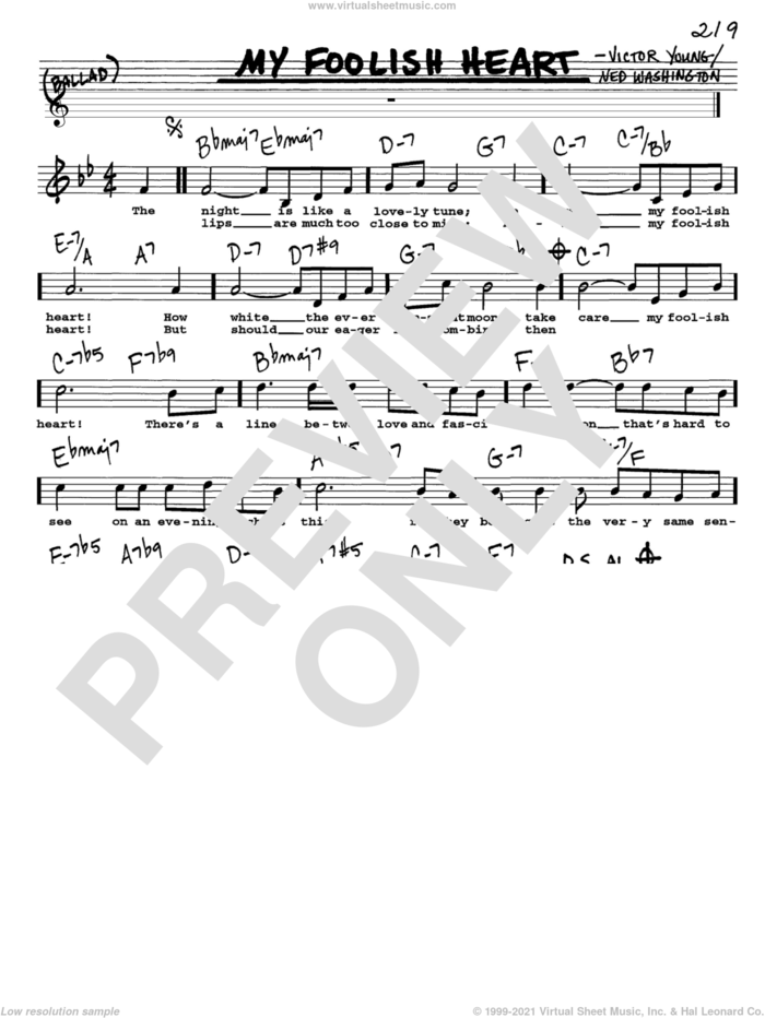 My Foolish Heart sheet music for voice and other instruments  by Ned Washington and Victor Young, intermediate skill level