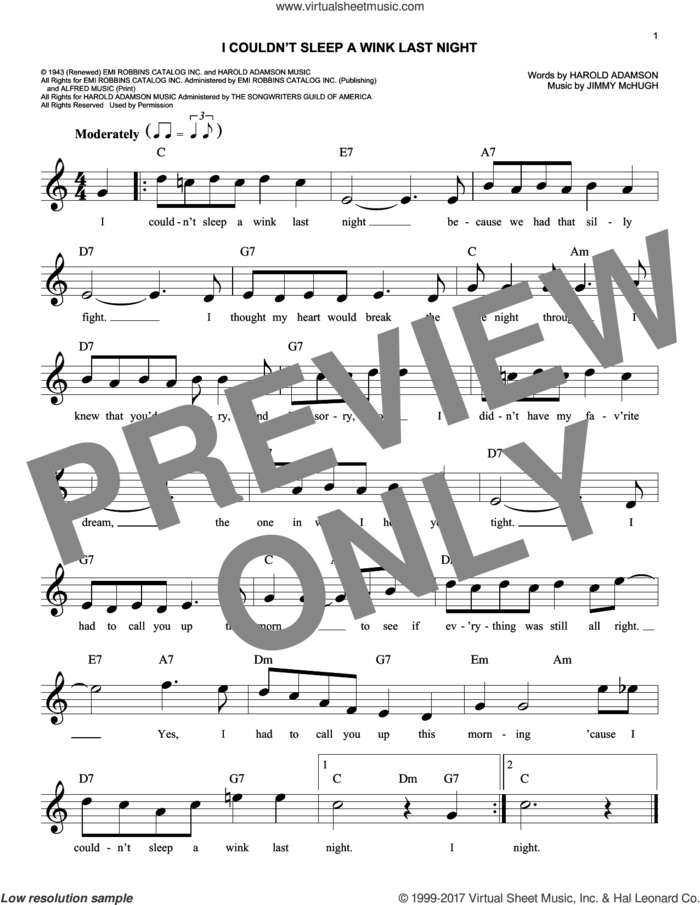I Couldn't Sleep A Wink Last Night sheet music for voice and other instruments (fake book) by Jimmy McHugh and Harold Adamson, intermediate skill level