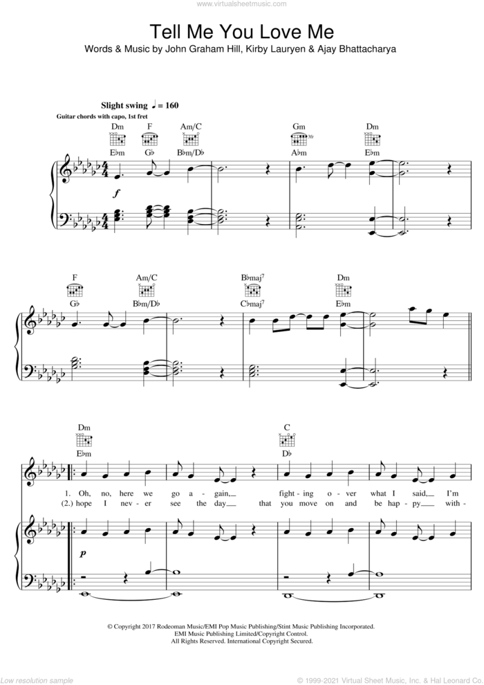 Tell Me You Love Me sheet music for voice, piano or guitar by Demi Lovato, Ajay Bhattacharya, John Graham Hill and Kirby Lauryen, intermediate skill level