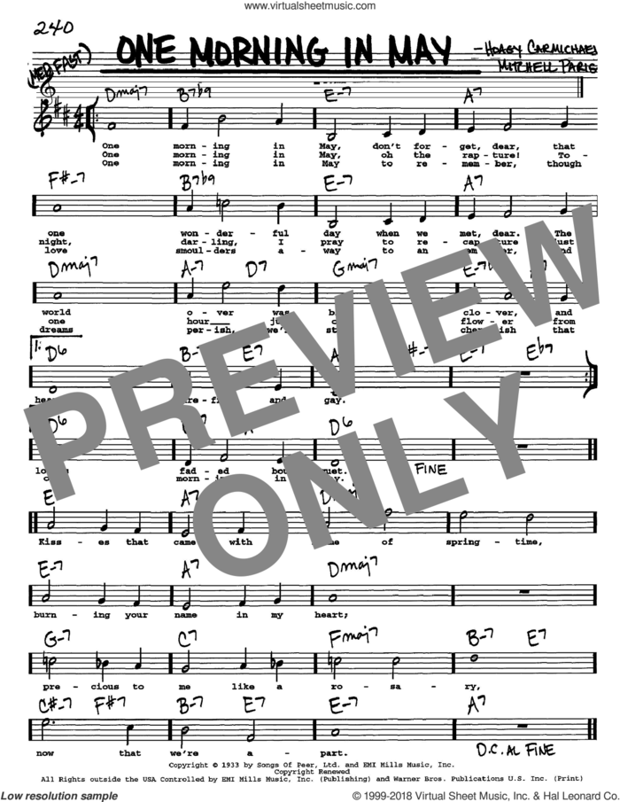 One Morning In May sheet music for voice and other instruments  by Hoagy Carmichael and Mitchell Parish, intermediate skill level