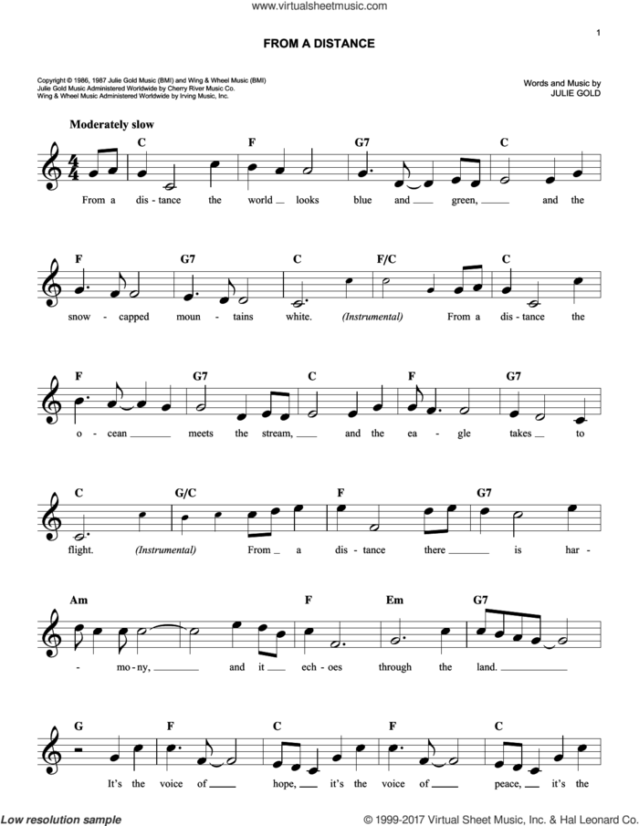 From A Distance sheet music for voice and other instruments (fake book) by Bette Midler and Julie Gold, intermediate skill level