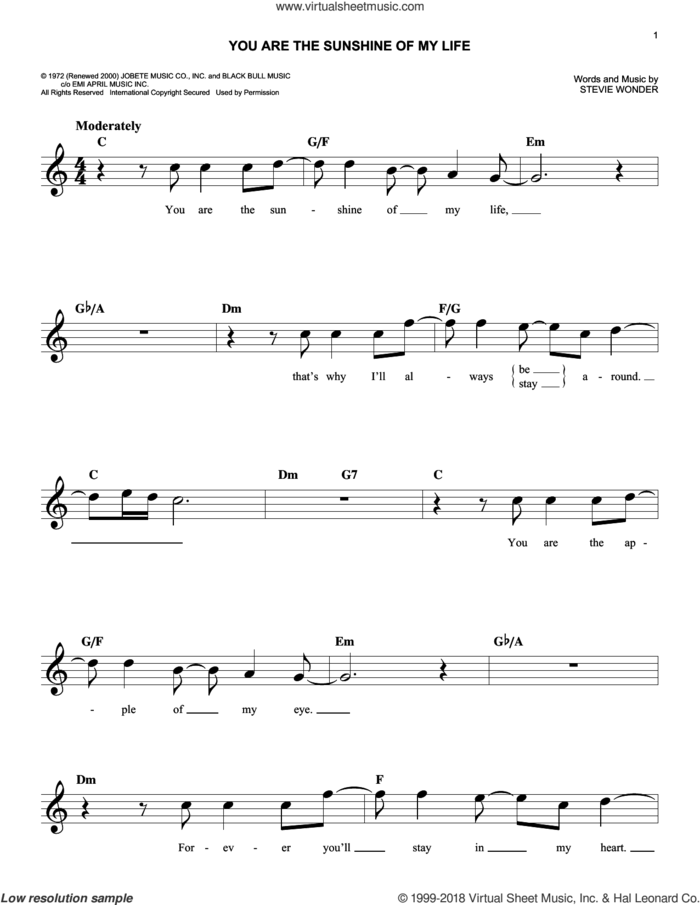 You Are The Sunshine Of My Life sheet music for voice and other instruments (fake book) by Stevie Wonder, intermediate skill level