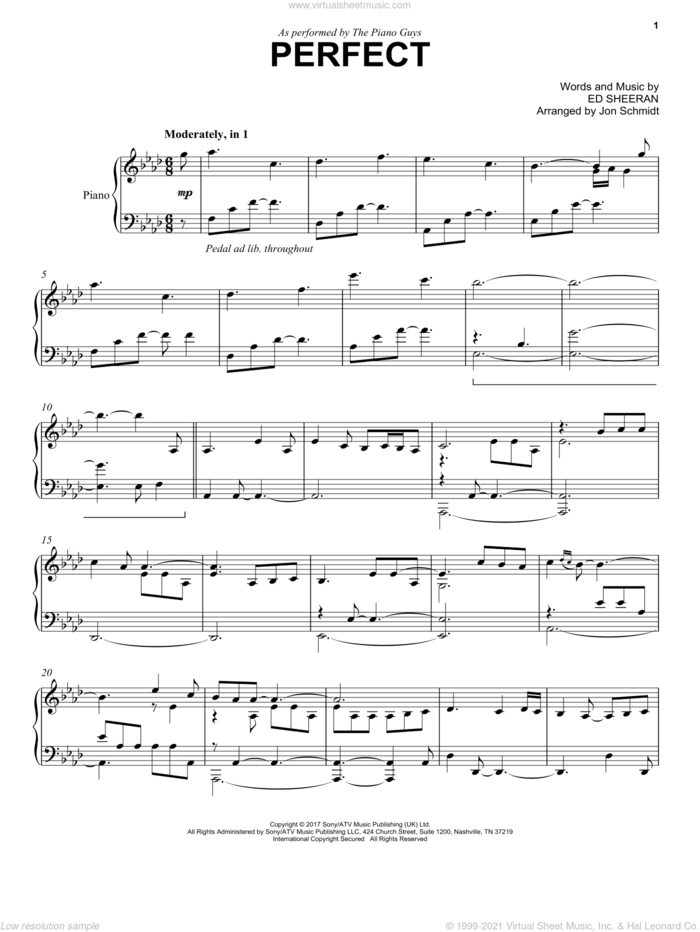 Perfect sheet music for piano solo by The Piano Guys and Ed Sheeran, intermediate skill level