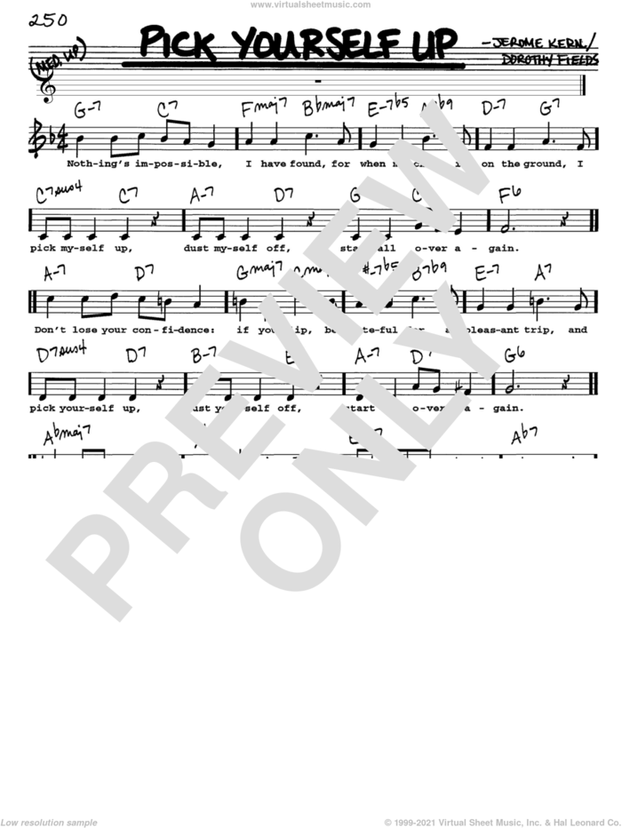 Pick Yourself Up sheet music for voice and other instruments  by Jerome Kern and Dorothy Fields, intermediate skill level