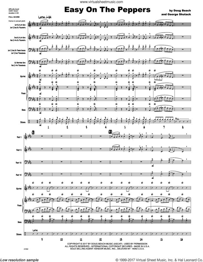 Easy On The Peppers (COMPLETE) sheet music for jazz band by Doug Beach & George Shutack, intermediate skill level