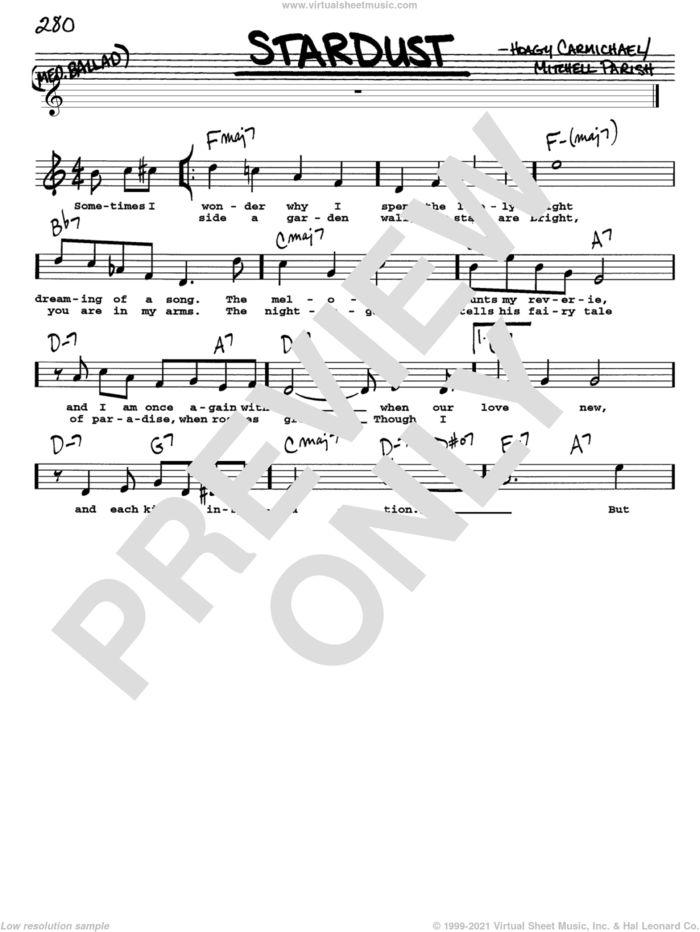 Stardust sheet music for voice and other instruments  by Hoagy Carmichael and Mitchell Parish, intermediate skill level