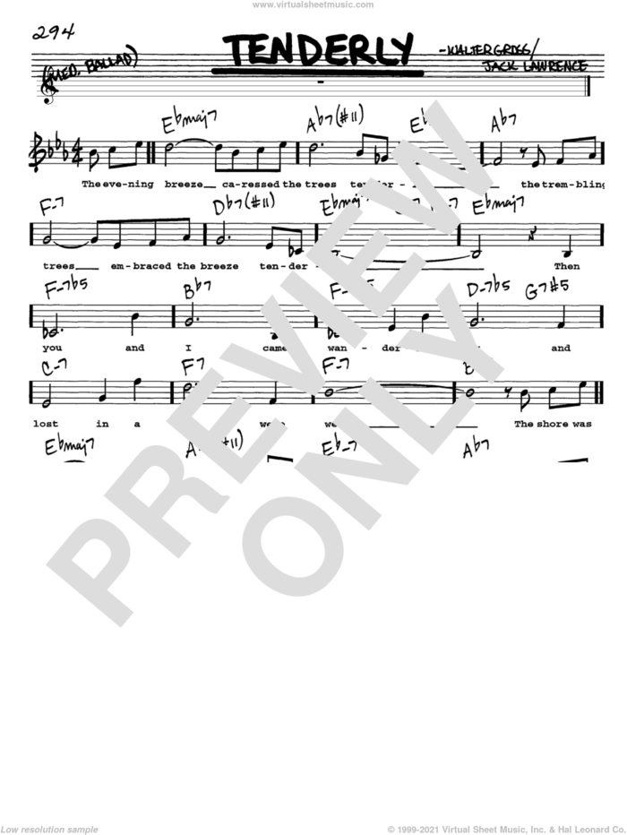 Tenderly sheet music for voice and other instruments  by Jack Lawrence and Walter Gross, intermediate skill level