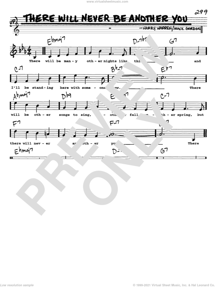 There Will Never Be Another You sheet music for voice and other instruments  by Mack Gordon and Harry Warren, intermediate skill level