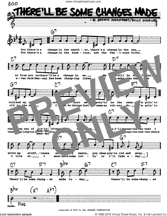 There'll Be Some Changes Made sheet music for voice and other instruments  by Billy Higgins and W. Benton Overstreet, intermediate skill level
