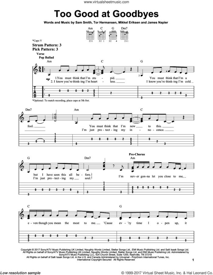 Too Good At Goodbyes sheet music for guitar solo (easy tablature) by Sam Smith, James Napier, Mikkel Eriksen and Tor Erik Hermansen, easy guitar (easy tablature)
