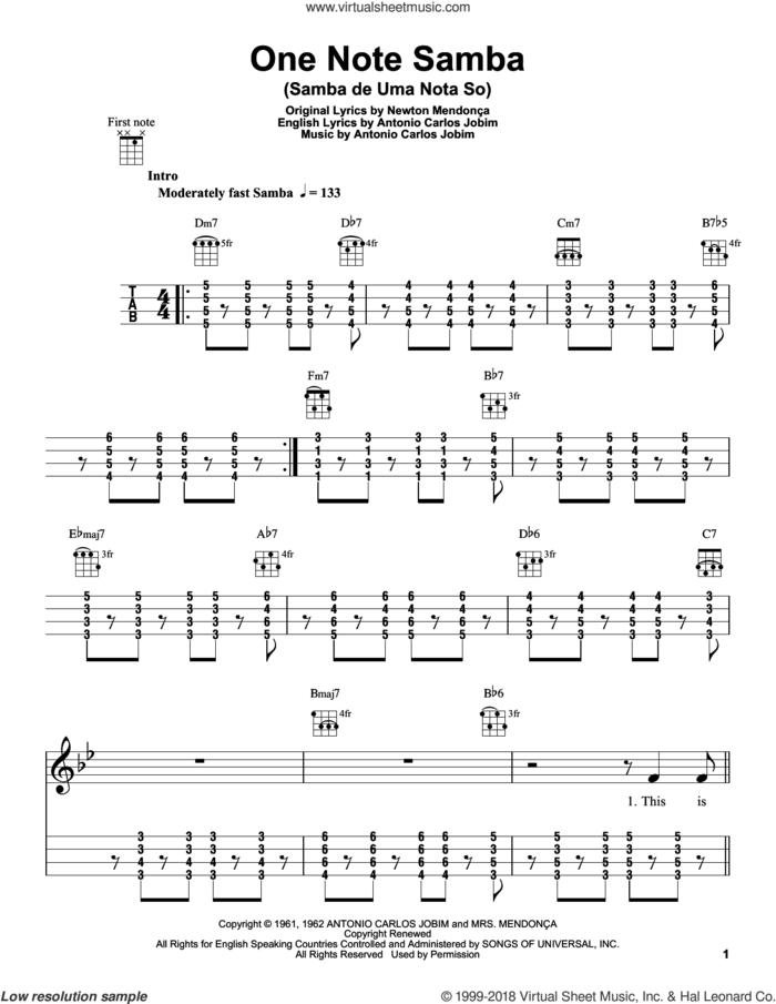 One Note Samba (Samba De Uma Nota So) sheet music for ukulele by Antonio Carlos Jobim and Newton Mendonca, intermediate skill level