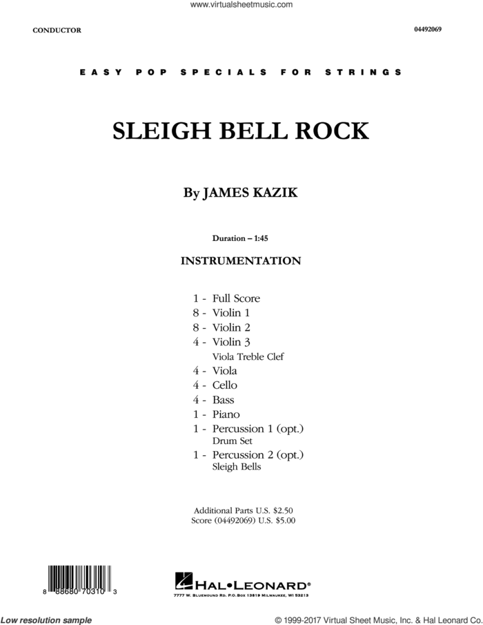 Sleigh Bell Rock (COMPLETE) sheet music for orchestra by James Kazik, intermediate skill level