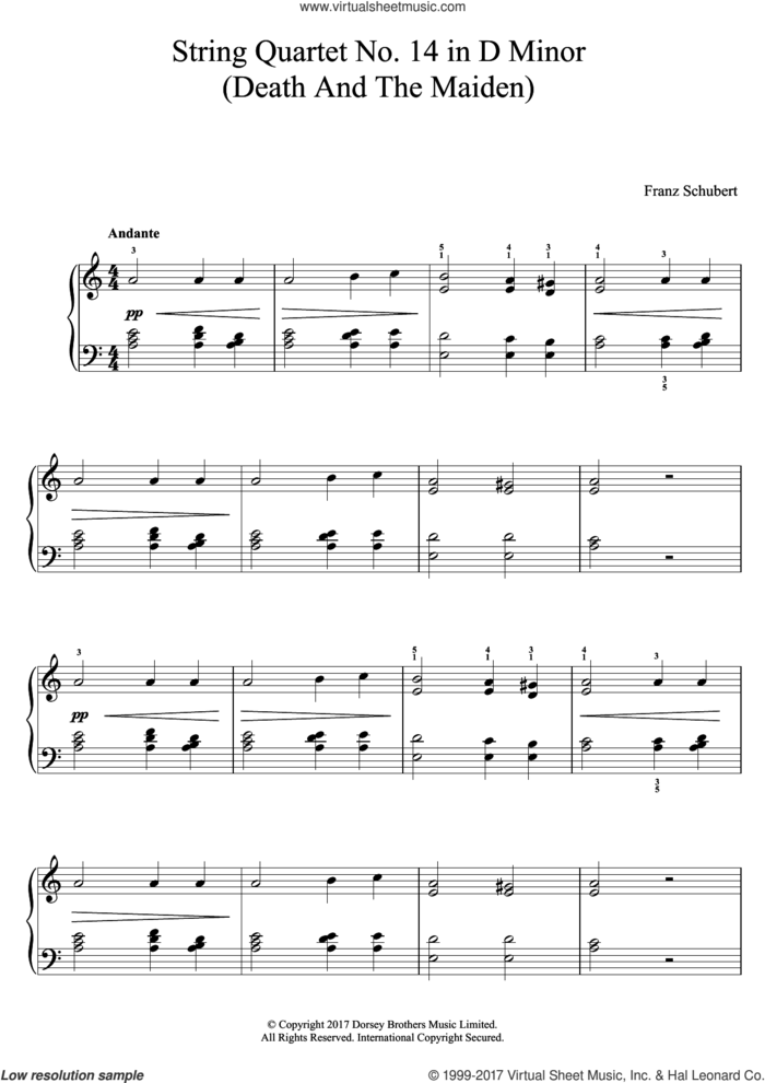 String Quartet No. 14 in D Minor (Death And The Maiden) sheet music for piano solo by Franz Schubert, classical score, easy skill level