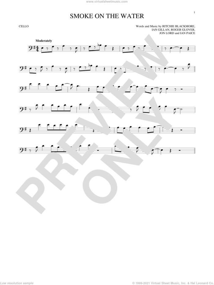 Smoke On The Water sheet music for cello solo by Deep Purple, Ian Gillan, Ian Paice, Jon Lord, Ritchie Blackmore and Roger Glover, intermediate skill level