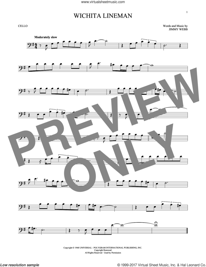 Wichita Lineman sheet music for cello solo by Glen Campbell and Jimmy Webb, intermediate skill level