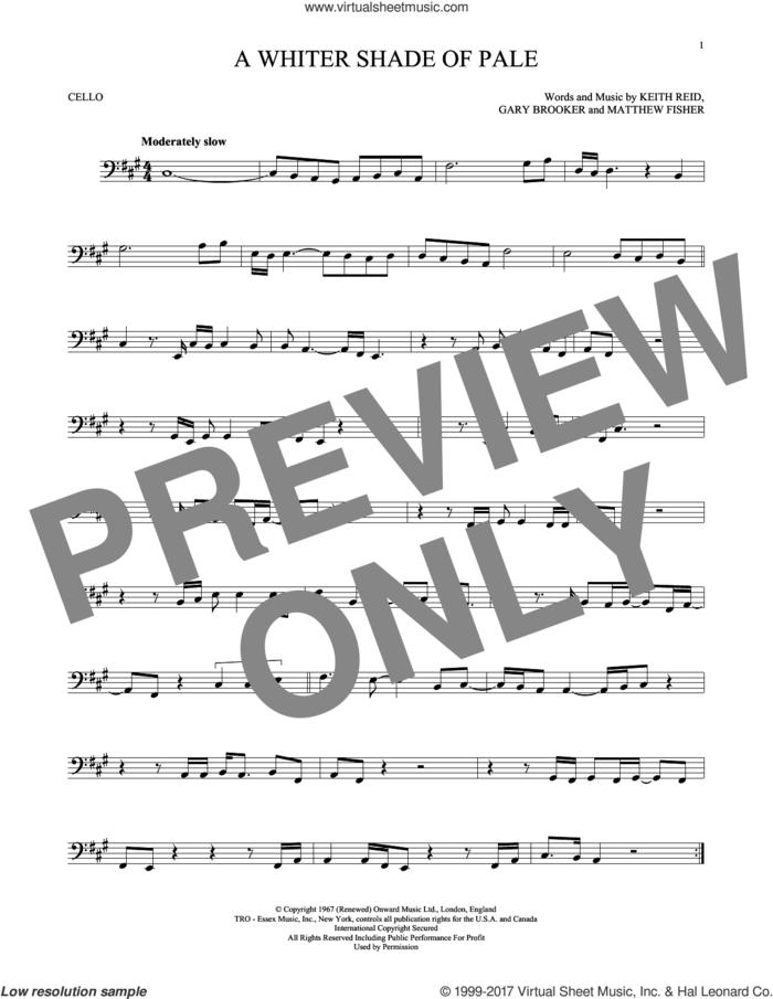 A Whiter Shade Of Pale sheet music for cello solo by Procol Harum, Gary Brooker, Keith Reid and Matthew Fisher, intermediate skill level