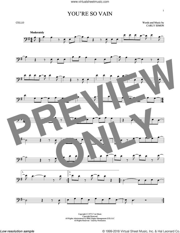 You're So Vain sheet music for cello solo by Carly Simon, intermediate skill level