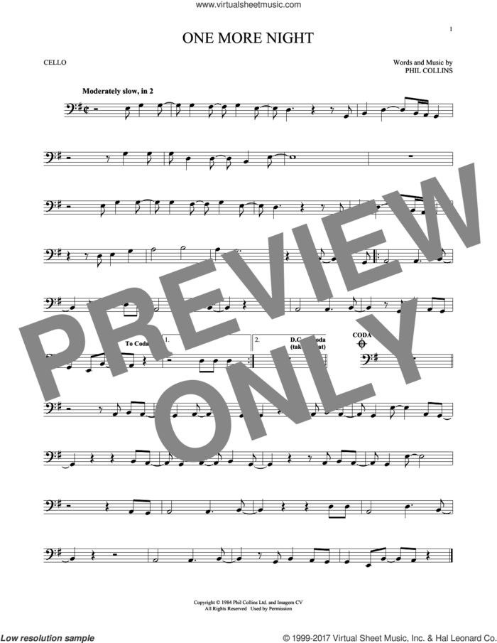 One More Night sheet music for cello solo by Phil Collins, intermediate skill level