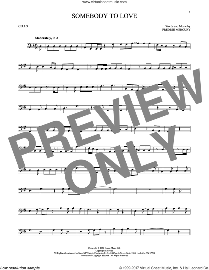 Somebody To Love sheet music for cello solo by Queen and Freddie Mercury, intermediate skill level