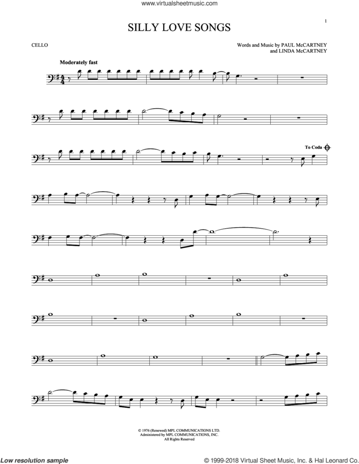 Silly Love Songs sheet music for cello solo by Wings, Linda McCartney and Paul McCartney, intermediate skill level
