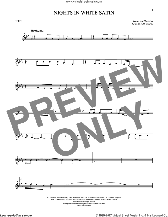 Nights In White Satin sheet music for horn solo by The Moody Blues and Justin Hayward, intermediate skill level