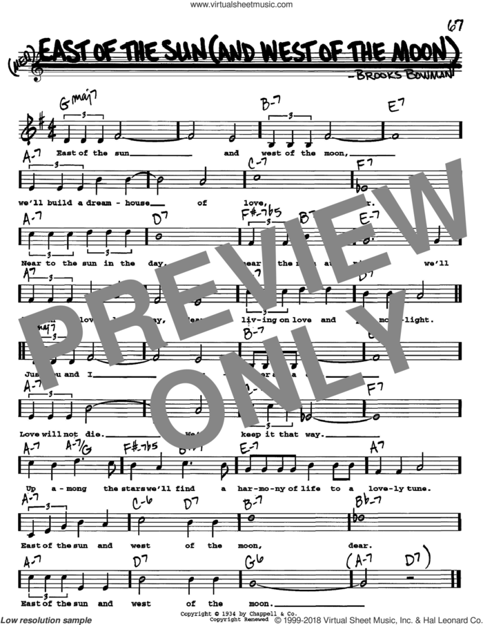 East Of The Sun (And West Of The Moon) sheet music for voice and other instruments  by Brooks Bowman, intermediate skill level