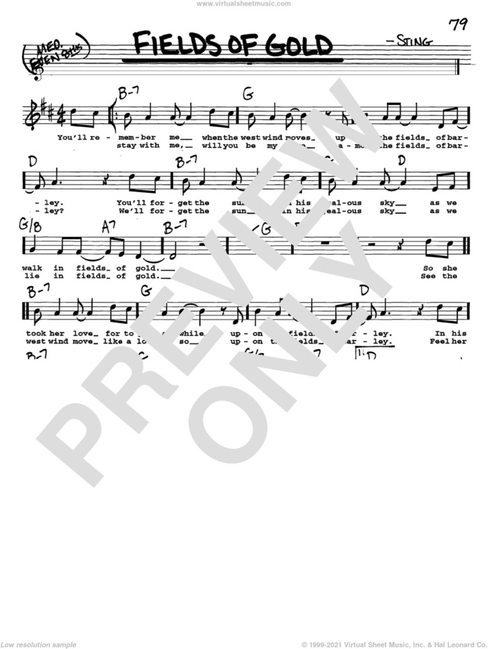 Fields Of Gold sheet music for voice and other instruments  by Sting, intermediate skill level