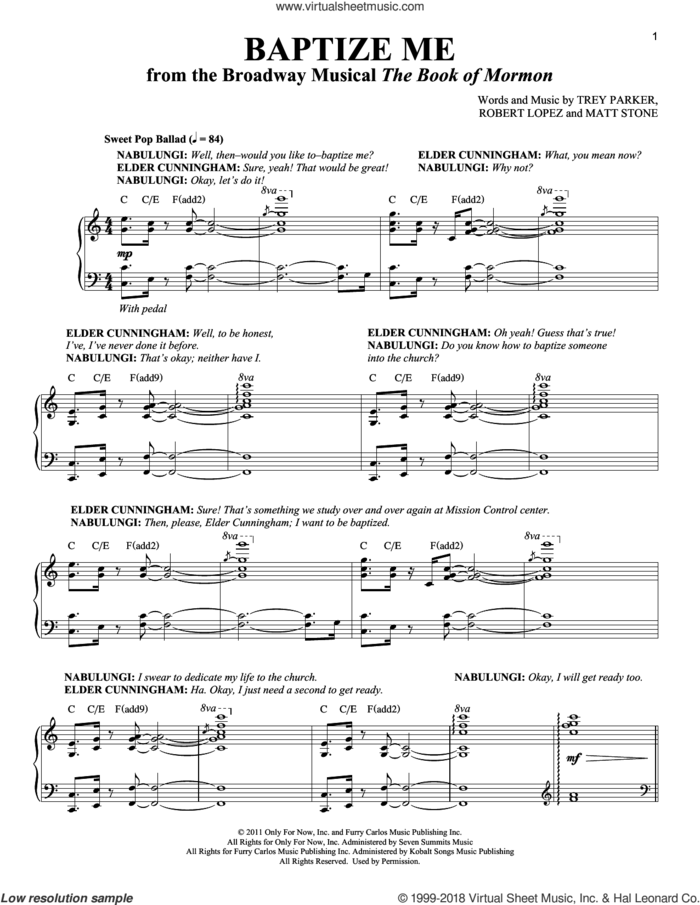 Baptize Me sheet music for voice and piano by Trey Parker & Matt Stone, Richard Walters, Matthew Stone, Robert Lopez and Trey Parker, intermediate skill level