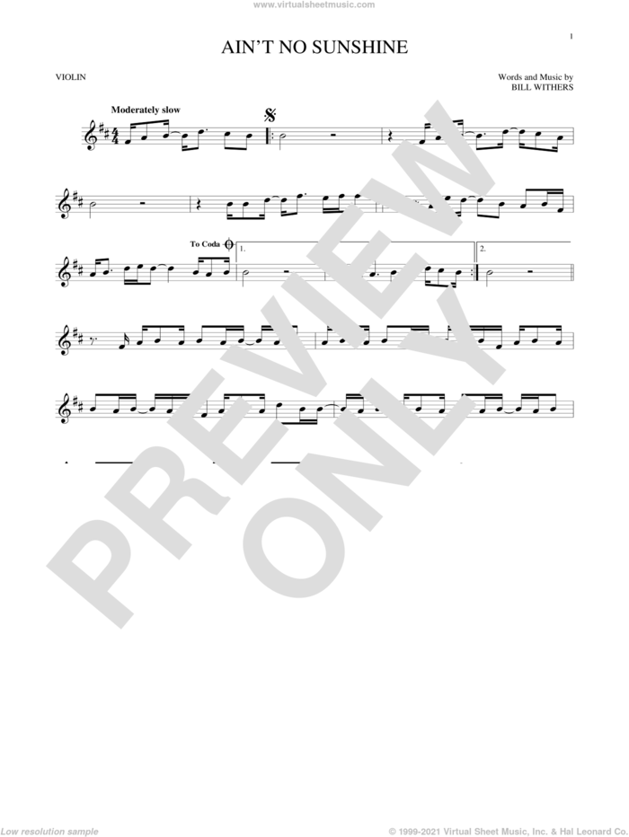 Ain't No Sunshine sheet music for violin solo by Bill Withers, intermediate skill level