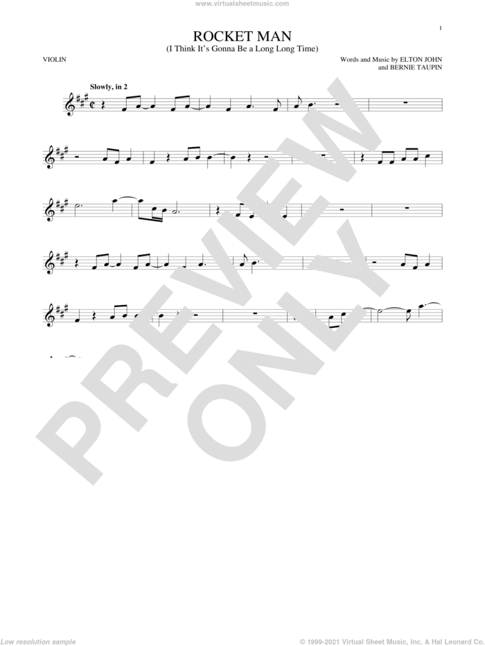 Rocket Man (I Think It's Gonna Be A Long Long Time) sheet music for violin solo by Elton John and Bernie Taupin, intermediate skill level