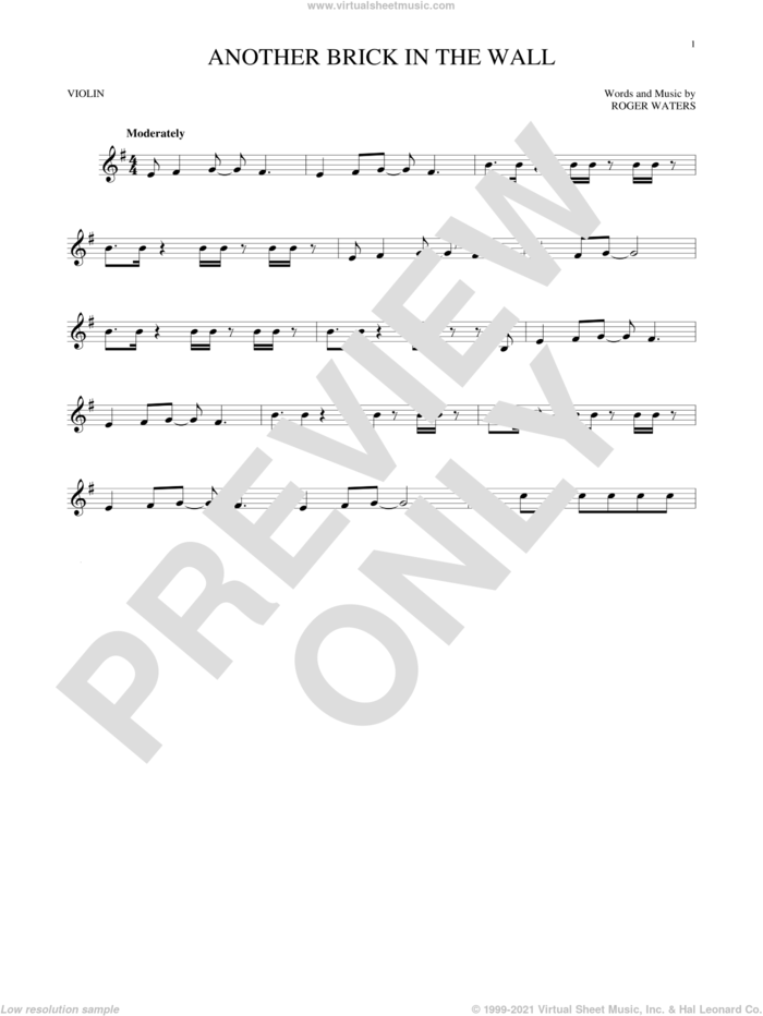 Another Brick In The Wall sheet music for violin solo by Pink Floyd and Roger Waters, intermediate skill level
