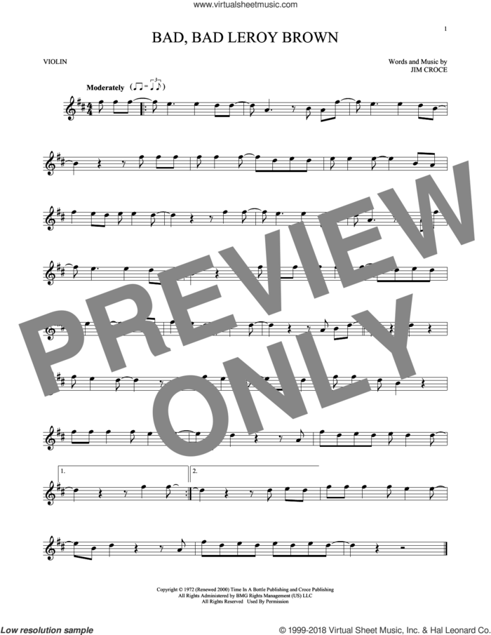 Bad, Bad Leroy Brown sheet music for violin solo by Jim Croce, intermediate skill level