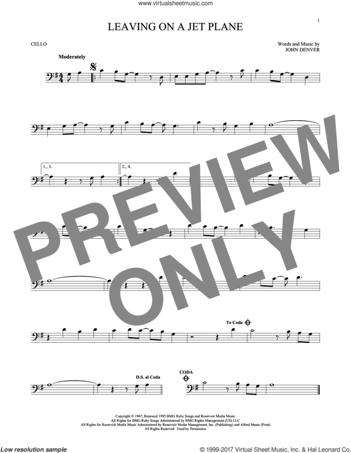Leaving On A Jet Plane sheet music for cello solo by John Denver and Peter, Paul & Mary, intermediate skill level