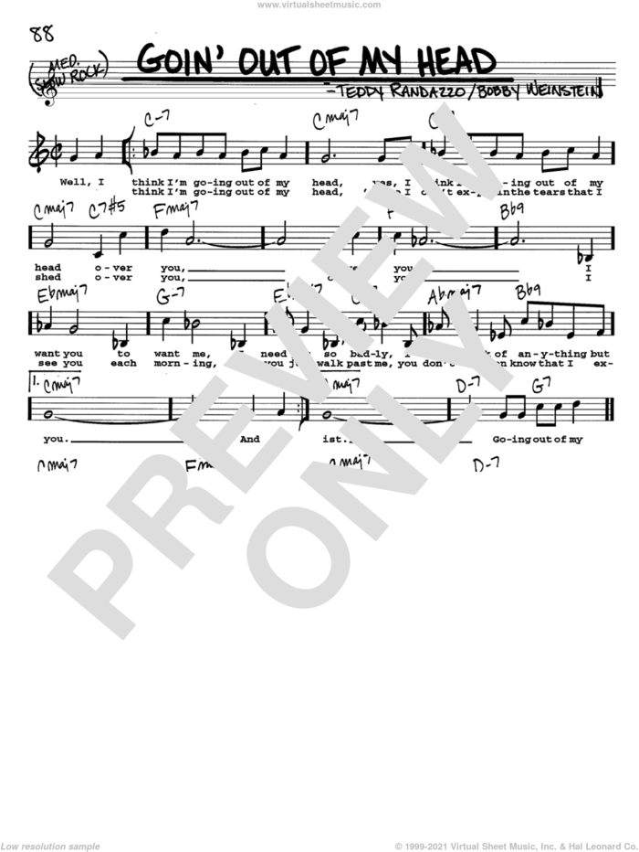 Goin' Out Of My Head sheet music for voice and other instruments  by Little Anthony & The Imperials, The Lettermen, Bobby Weinstein and Teddy Randazzo, intermediate skill level