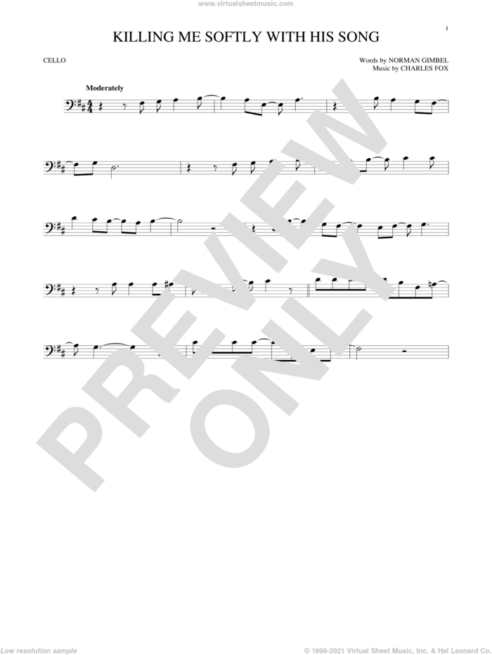 Killing Me Softly With His Song sheet music for cello solo by Roberta Flack, Charles Fox and Norman Gimbel, intermediate skill level