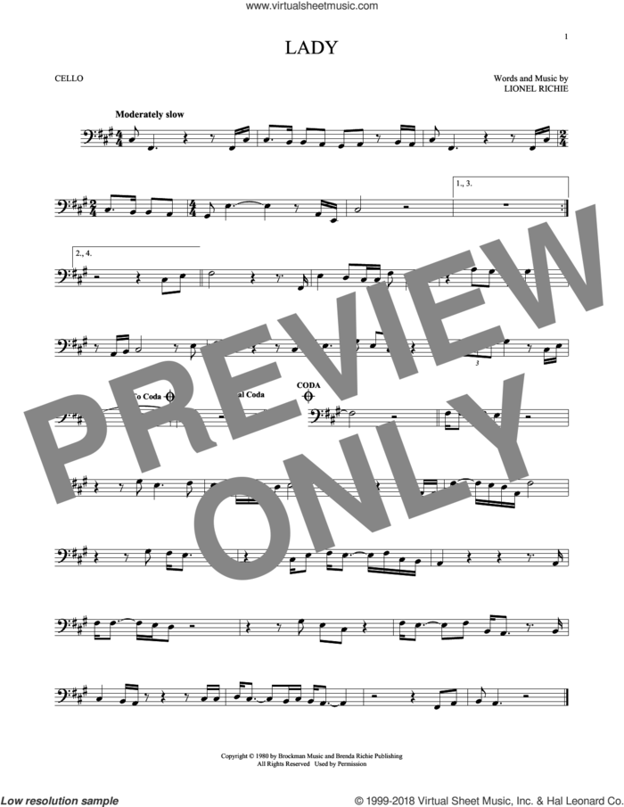 Lady sheet music for cello solo by Kenny Rogers and Lionel Richie, intermediate skill level