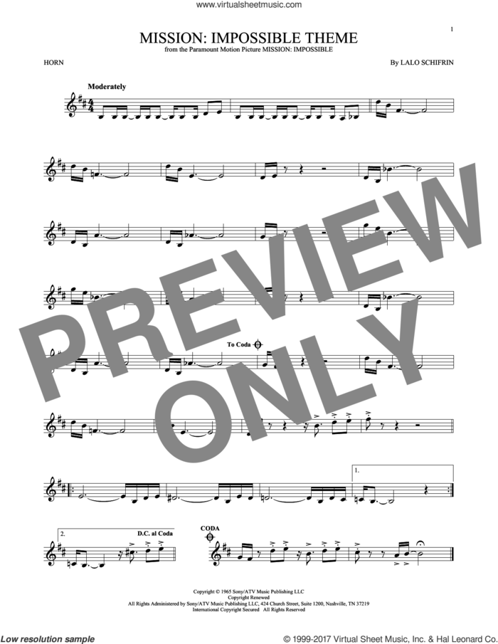 Mission: Impossible Theme sheet music for horn solo by Adam Clayton and Larry Mullen and Lalo Schifrin, intermediate skill level