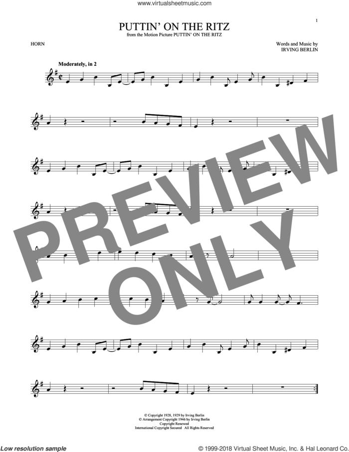Puttin' On The Ritz sheet music for horn solo by Irving Berlin, intermediate skill level