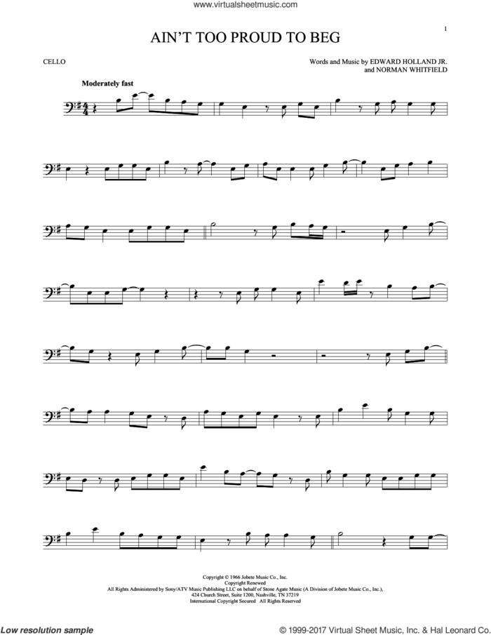 Ain't Too Proud To Beg sheet music for cello solo by The Temptations, Edward Holland Jr. and Norman Whitfield, intermediate skill level