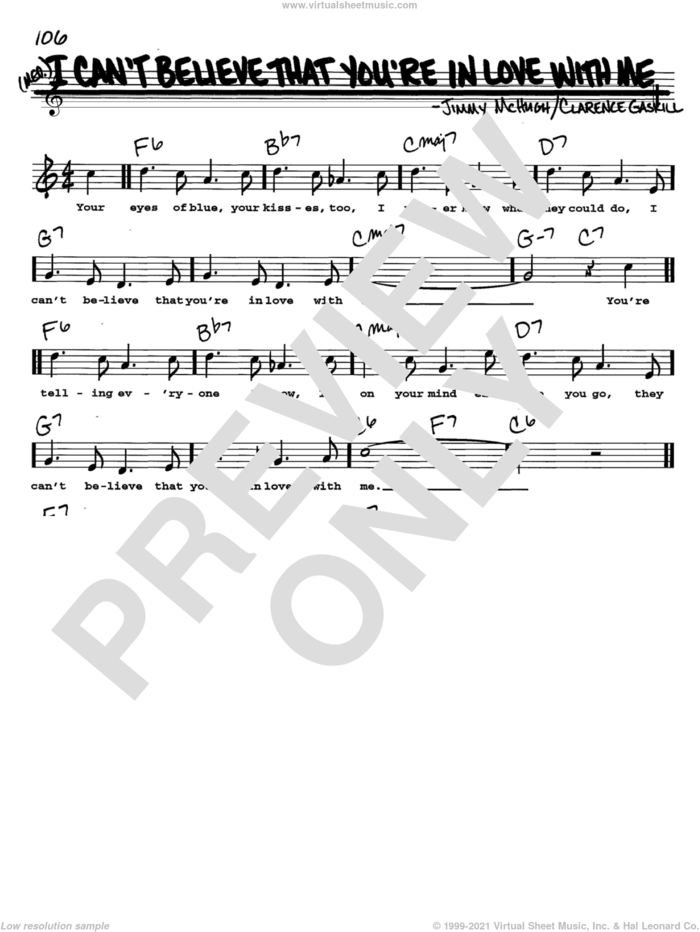 I Can't Believe That You're In Love With Me sheet music for voice and other instruments  by Jimmy McHugh and Clarence Gaskill, intermediate skill level