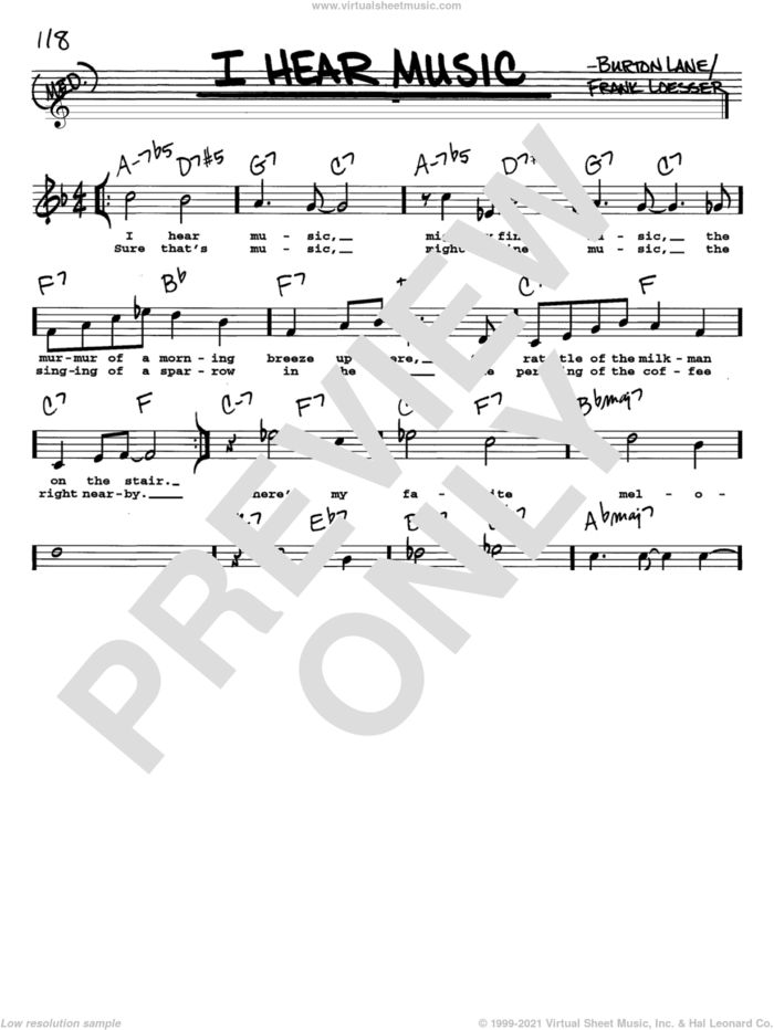 I Hear Music sheet music for voice and other instruments  by Frank Loesser and Burton Lane, intermediate skill level