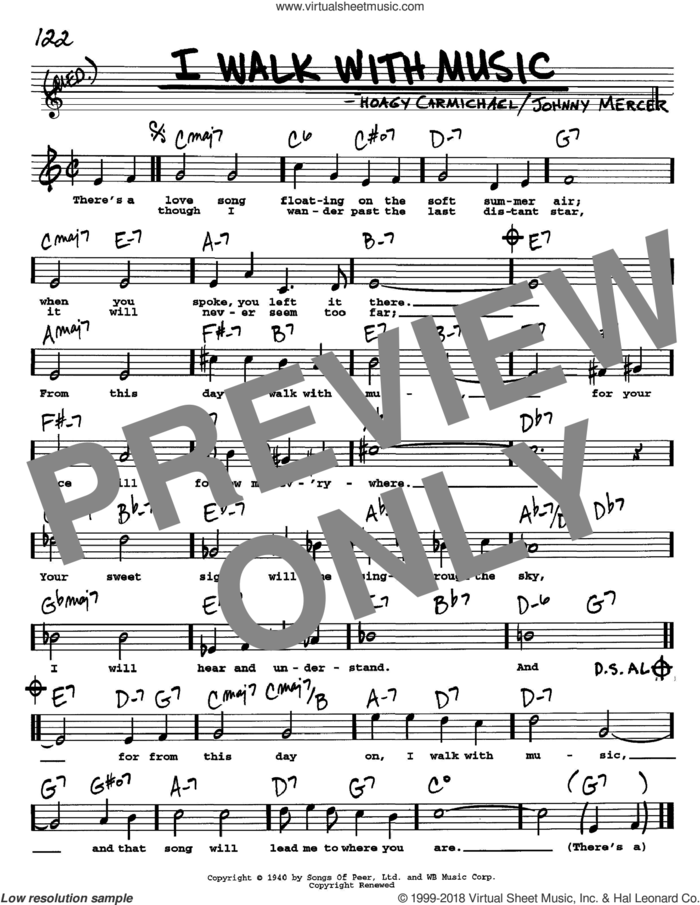 I Walk With Music sheet music for voice and other instruments  by Hoagy Carmichael and Johnny Mercer, intermediate skill level