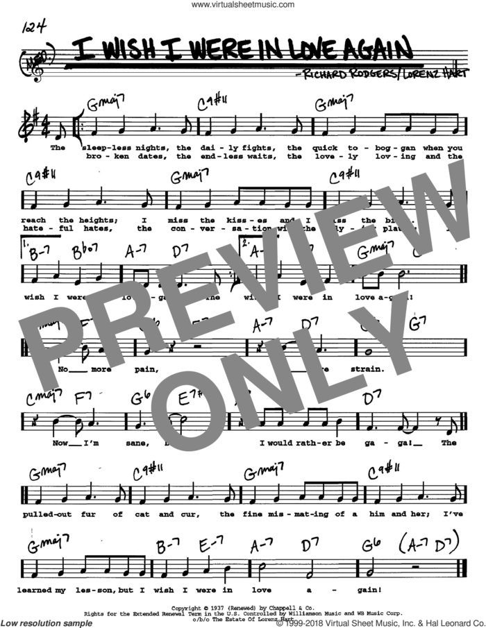 I Wish I Were In Love Again sheet music for voice and other instruments  by Rodgers & Hart, Lorenz Hart and Richard Rodgers, intermediate skill level