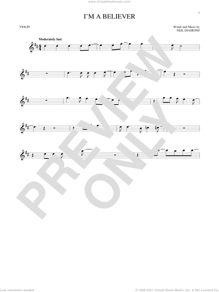 I'm A Believer sheet music for violin solo by Neil Diamond, Smash Mouth and The Monkees, intermediate skill level