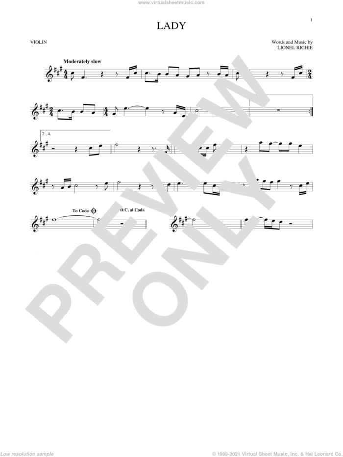 Lady sheet music for violin solo by Kenny Rogers and Lionel Richie, intermediate skill level