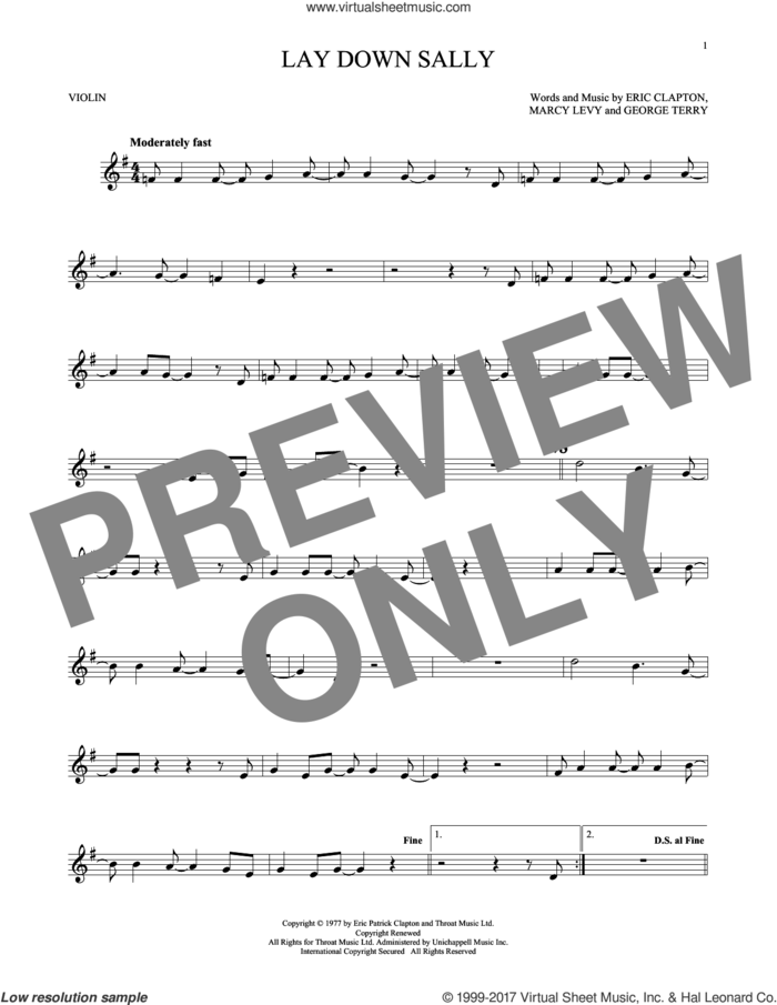 Lay Down Sally sheet music for violin solo by Eric Clapton, George Terry and Marcy Levy, intermediate skill level