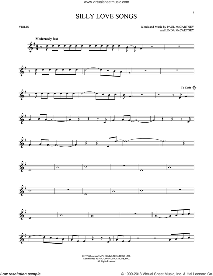 Silly Love Songs sheet music for violin solo by Paul McCartney, Wings and Linda McCartney, intermediate skill level